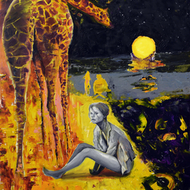 Sergey Lutsenko Artwork Giraffe and lady, 2016 Oil Painting, Surrealism