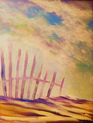 Valerie Leri: 'beach fence', 2015 Acrylic Painting, Landscape. Artist Description: Original painting with distressed wood frame. ...
