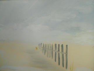 Valerie Leri: 'beach fence 2', 2016 Acrylic Painting, Landscape. Artist Description: Original painting with distressed wood frame. ...