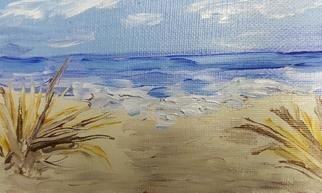 Valerie Leri: 'beach grass', 2017 Acrylic Painting, Beach. Artist Description: Original painting with distressed wood frame. ...