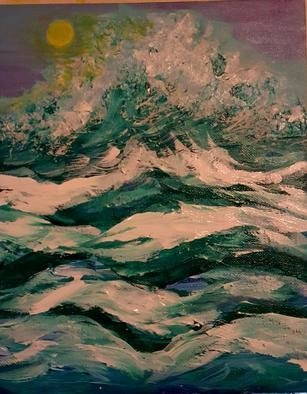 Valerie Leri: 'breaking through', 2017 Acrylic Painting, Seascape. Artist Description: Original painting with distressed wood frame. ...