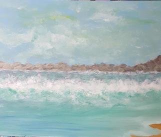 Valerie Leri: 'breaking waves', 2017 Acrylic Painting, Beach. Artist Description: Original painting with no frame. ...