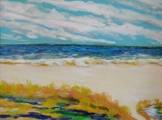 Valerie Leri: 'cape cod beach path', 2016 Acrylic Painting, Landscape. Artist Description: Original painting with gold wood plein air frame. ...