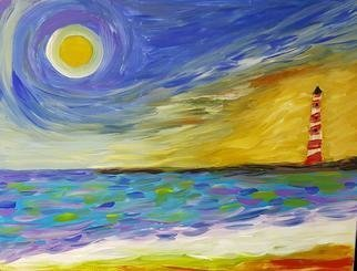 Valerie Leri: 'lighthouse at dusk', 2017 Acrylic Painting, Seascape. Artist Description: Original painting on wood panel - no frame necessary...