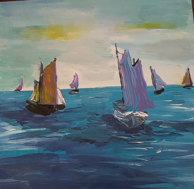 Valerie Leri  'Sailboats In Harbor', created in 2017, Original Painting Acrylic.