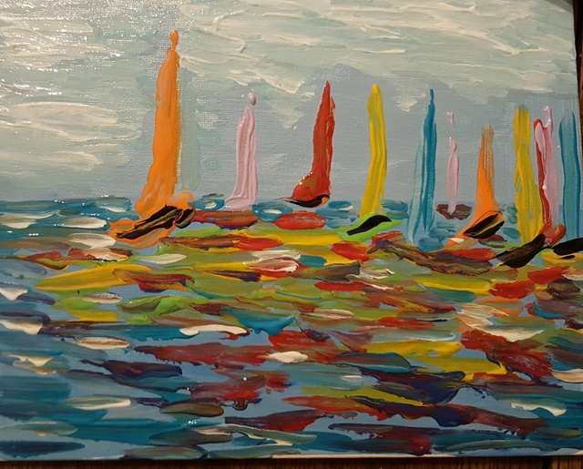 Valerie Leri  'Sailing In Color', created in 2017, Original Painting Acrylic.