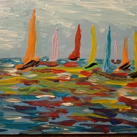 Valerie Leri: 'sailing in color', 2017 Acrylic Painting, Sailing. Artist Description: original painting with distressed wood frame. ...