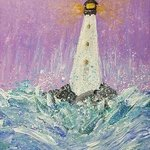 waves breaking on lighthouse By Valerie Leri