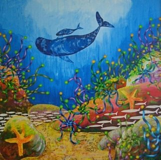Vicky T Hunt: 'Mummy baby and two starfish', 2005 Oil Painting, Fish.  Mummy and baby southern right whales with two starfish. ...
