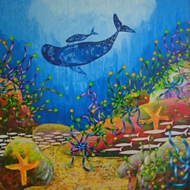 Vicky T Hunt: 'Mummy baby and two starfish', 2005 Oil Painting, Fish. Artist Description:  Mummy and baby southern right whales with two starfish. ...