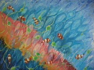 Vicky T Hunt: 'Pink and turquoise with clownfish', 2006 Oil Painting, Fish.  Pink and turquoise background with clownfish. ...