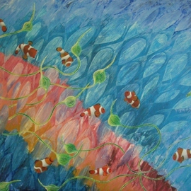 Vicky T Hunt: 'Pink and turquoise with clownfish', 2006 Oil Painting, Fish. Artist Description:  Pink and turquoise background with clownfish. ...