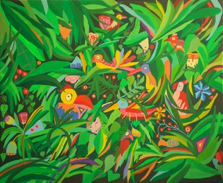 Artist: Mimi Revencu - Title: Jungle 3 - Medium: Acrylic Painting - Year: 2010