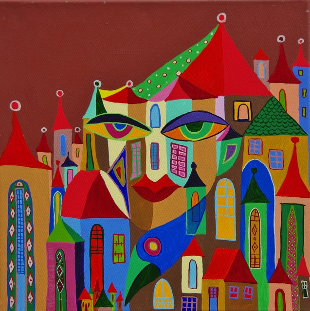 Artist Mimi Revencu. 'The Eyes Of The City' Artwork Image, Created in 2011, Original Mixed Media. #art #artist