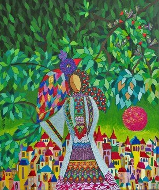 Mimi Revencu: 'farewell', 2013 Acrylic Painting, Landscape. Artist Description:  landscape  bird  tree  forest  story  folk  city  women  figurative  mirabilism...