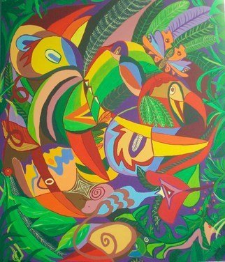 Mimi Revencu: 'jungle 1', 2010 Acrylic Painting, Landscape. Artist Description:  jungle  painter birds mirabilism mimirevencu nature ...