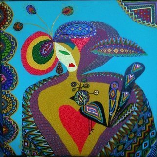 Mimi Revencu: 'the bird', 2011 Acrylic Painting, Abstract Figurative. Artist Description:  mirabilism mimirevencu artgallery bird lady folk artcollector artmo artmogallery glarify galerieonline...