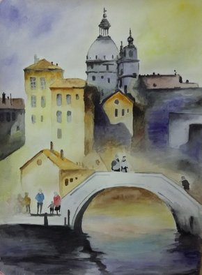 Victoria Zavyalova Artwork Bridge, 2016 Watercolor, Architecture