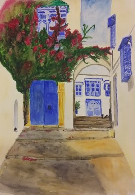 Victoria Zavyalova Artwork White and blue city, 2016 Watercolor, Architecture