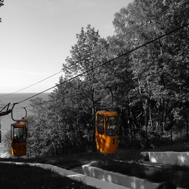 Victoria Zavyalova Artwork yellow cable car, 2016 Black and White Photograph, Beach