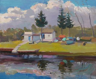 Victor Onyshchenko: 'at the gulf on the river', 2017 Oil Painting, Landscape. Artist Description: Fresh spring landscape. Painted in Kiev at Rusanovsky dachas. First warm days this year. ...