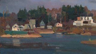 Victor Onyshchenko Artwork dachas at the lake, 2017 Oil Painting, Landscape