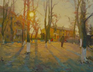 Victor Onyshchenko: 'end of the day', 2016 Oil Painting, Life. Artist Description: Landscape with mood and history. Decline of day. The sun approaches the horizon. The old person slowly goes on the yard. . . ...