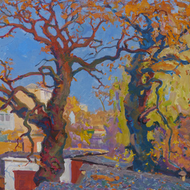 Victor Onyshchenko: 'oaks of my childhood', 2018 Oil Painting, Trees. Artist Description: These oaks, growing among the garages, I remember from childhood. Work painted from the roof of the garage. ...