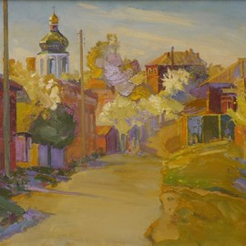 Victor Onyshchenko: 'starostryzhenska street', 2014 Oil Painting, Cityscape. Artist Description: Spring at Starostryzhenska street in Chernihiv. Sad and lyrical picture. ...
