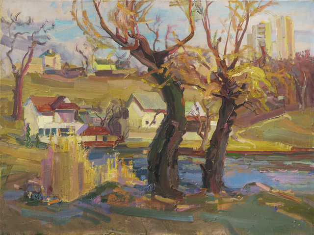 Victor Onyshchenko  'Willows Near The Lake', created in 2016, Original Painting Oil.