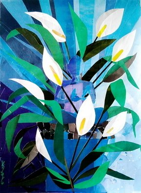 Collage by Vijaya Koteeswaran titled: Buddha of the Peace Lily, created in 2010