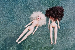 Julia Gomelsky: 'Pool Party', 2011 Color Photograph, undecided. Artist Description:  Two dolls floating in a pool. Photograph printed on canvas ...