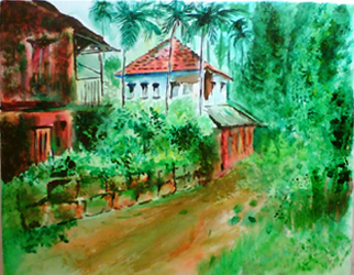 Landscape Acrylic Painting by Vinay Baindur Title: Village House, created in 2007