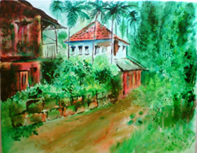 Vinay Baindur  'Village House', created in 2007, Original Painting Oil.