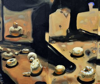 Viorel  Popescu: 'Quator Detail, Mushrooms', 2009 Oil Painting, Representational.