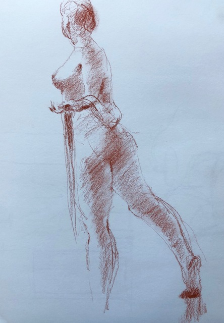 John Tooma  'Figure Study', created in 2015, Original Drawing Gouache.