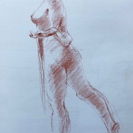 John Tooma Artwork Figure Study, 2015 Pastel Drawing, Body