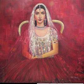 Priti Parikh: 'BRIDE', 2006 Oil Painting, Figurative. Artist Description: In This work I have shown modern indian bride before her wedding. I have given knife treatment in the painting. ...