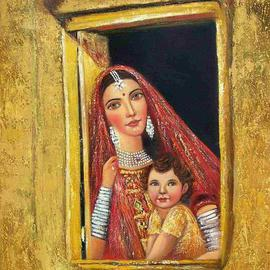 Priti Parikh: 'Mother and Child', 2005 Oil Painting, Figurative. Artist Description: A Mother And child waiting for their beloved painting is based on rural indian theme. I have given knife treatment in painting. ...