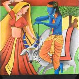 Priti Parikh: 'RADHA KRISNA', 2006 Acrylic Painting, Figurative. Artist Description: The Painting is about indian divinities which are symbols of love. theme is that love is blind. ...