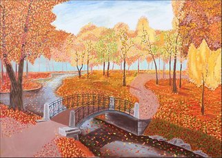 Vitaliy Bilichenko: 'autumn in the park', 2017 Oil Painting, Landscape. Artist Description: Painting Oil on Canvas. I take a pencil and start to paint the picture that lure in its own world. Painting aEURoeFallaEUR gives warm and cheerful feeling. It is festive and blithesome. I have chosen that of combination of paint which can describe the beauty of fall. I ...