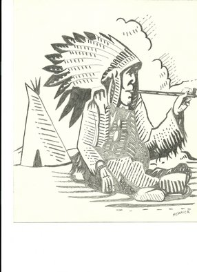 Donald Herrick: 'Indian Chief', 2011 Pencil Drawing, Western. Artist Description:  Indian Chief ...