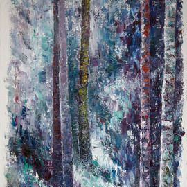 Vladimir Volosov Artwork Blue Forest, 2014 Oil Painting, Abstract Landscape