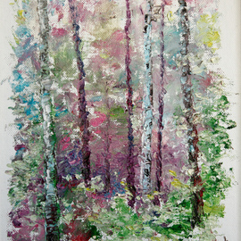 Vladimir Volosov Artwork Forest Sketch, 2014 Oil Painting, Abstract Landscape