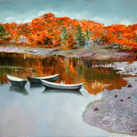 Vladimir Volosov Artwork Golden Autumn in New England, 2013 Oil Painting, Landscape