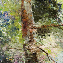 Vladimir Volosov Artwork Lonely  old Pine fragment, 2007 Oil Painting, Landscape