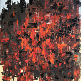 Vladimir Volosov Artwork Red and Black, 1993 Oil Painting, Abstract