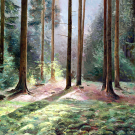 Vladimir Volosov Artwork Sounds of the Forest, 2016 Oil Painting, Landscape
