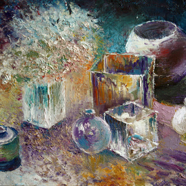 Vladimir Volosov Artwork Still Life with bottles, 2011 Oil Painting, Still Life