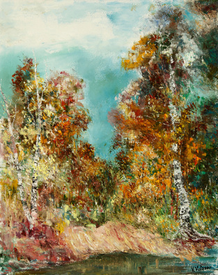 Artist: Vladimir Volosov - Title: Tired Birches - Medium: Oil Painting - Year: 2014